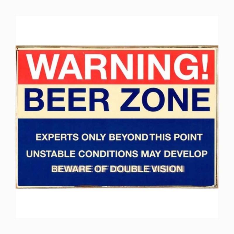 Beer Zone Ξύλινος Vintage Πίνακας 20 x 30 cm
