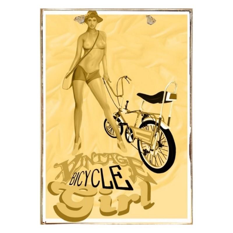 Bicycle Girl Ξύλινος Vintage Πίνακας 20 x 30 cm