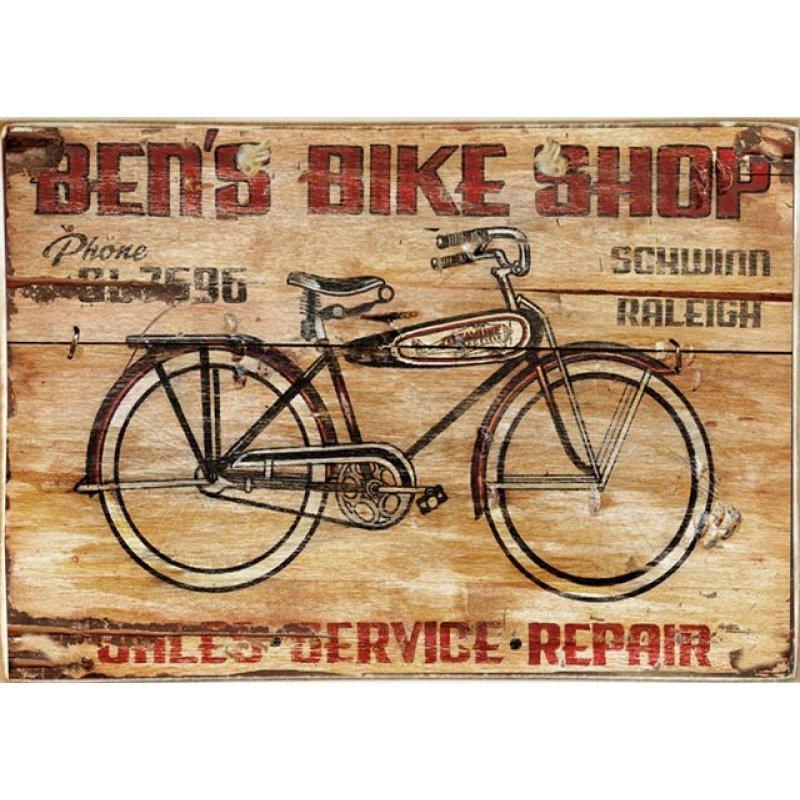 Bike Service Ξύλινος Vintage Πίνακας 20 x 30 cm