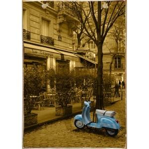 Blue Vespa -Ξύλινος  Πίνακας Χειροποίητος 20 x 30 cm