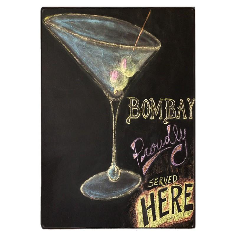 Bombay Cocktails Here-Ξύλινος Πίνακας Μαυροπίνακας 20 x 30 cm