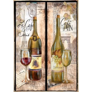 Café Vin -Ξύλινος  Πίνακας Χειροποίητος 20 x 30 cm