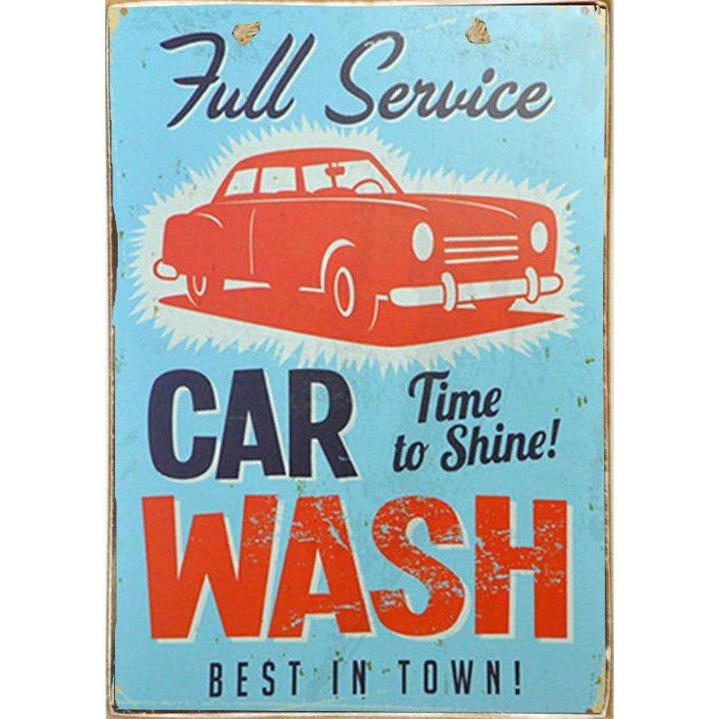 Car Wash-Ξύλινος  Πίνακας Χειροποίητος 20 x 30 cm