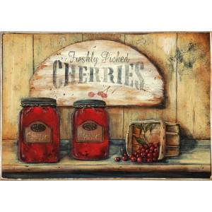 Cherries -Ξύλινος  Πίνακας Χειροποίητος 20 x 30 cm