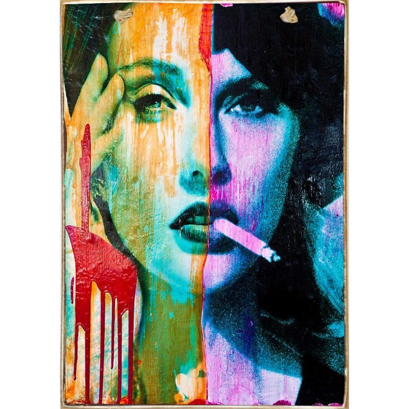 Cigarette Woman-Ξύλινος  Πίνακας Χειροποίητος 20 x 30 cm