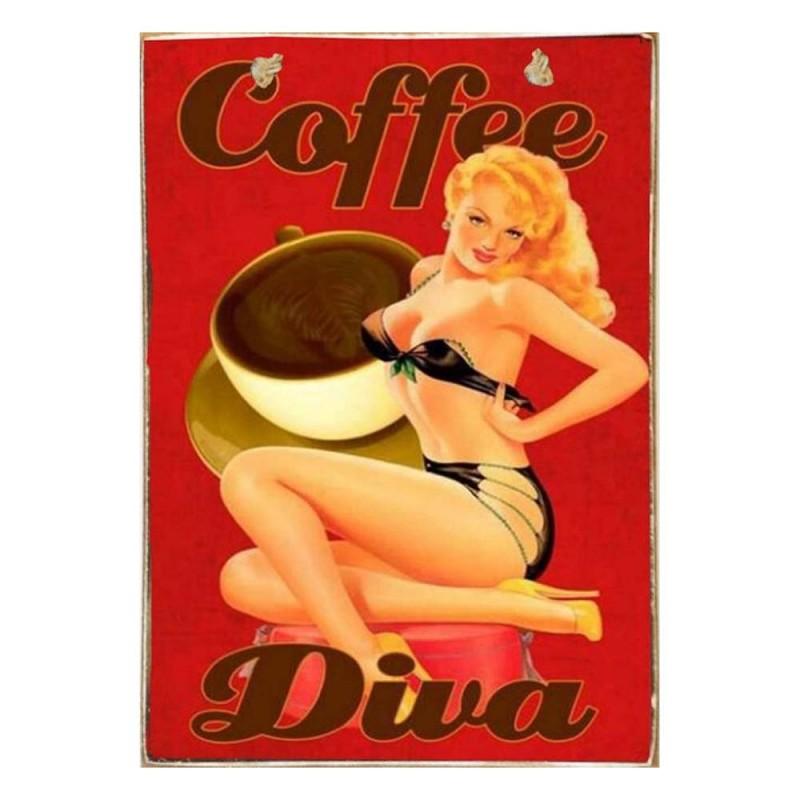Coffee Diva Ξύλινος Vintage Πίνακας 20 x 30 cm
