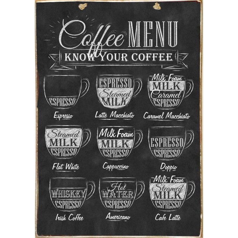 Coffee Menu - Ξύλινος Πίνακας Μαύροπίνακας 20 x 30 cm