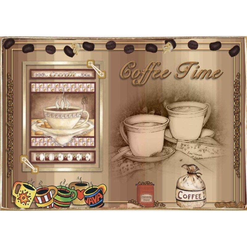 Coffee Time-Ξύλινος  Πίνακας Χειροποίητος 20 x 30 cm