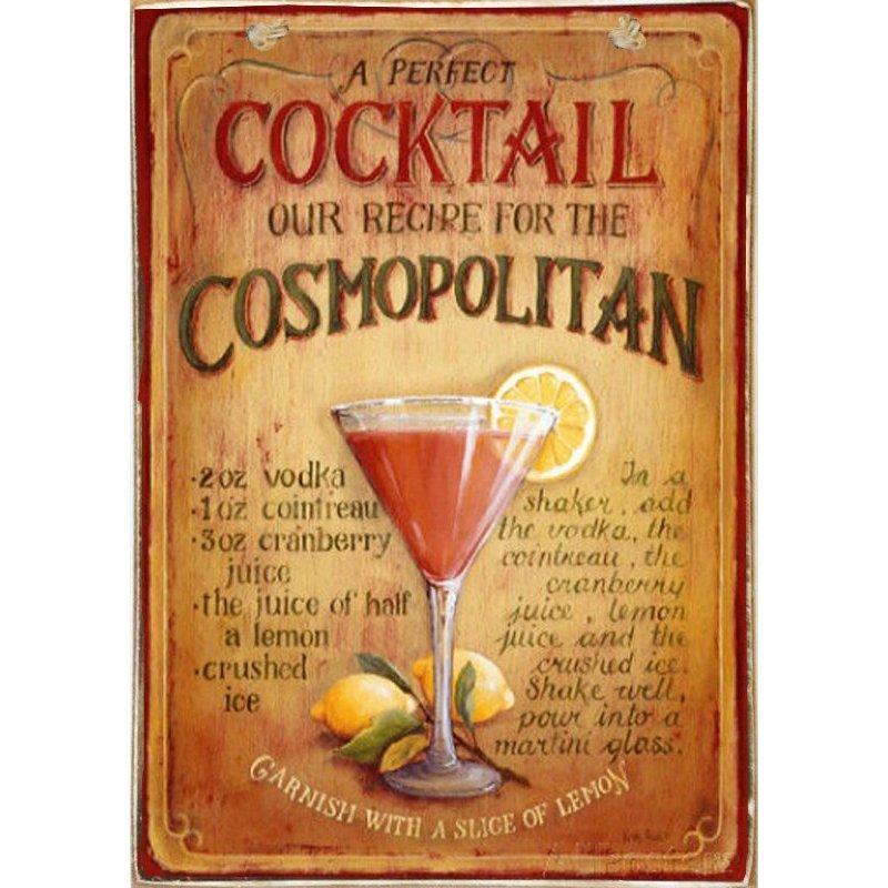 Cosmopolitan -Ξύλινος  Πίνακας Χειροποίητος 20 x 30 cm