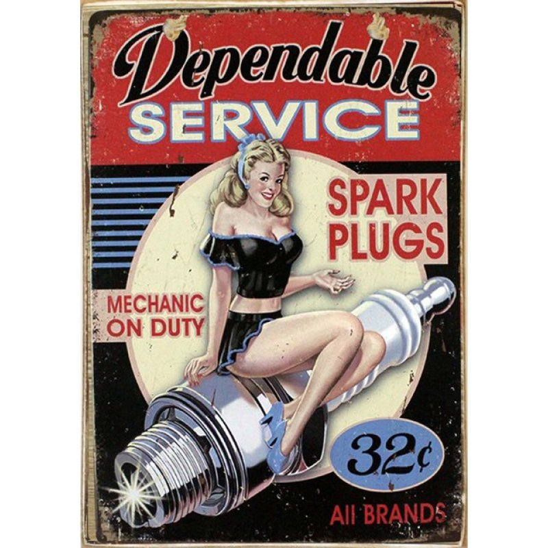 Dependable Service Ξύλινος Vintage Πίνακας 20 x 30 cm