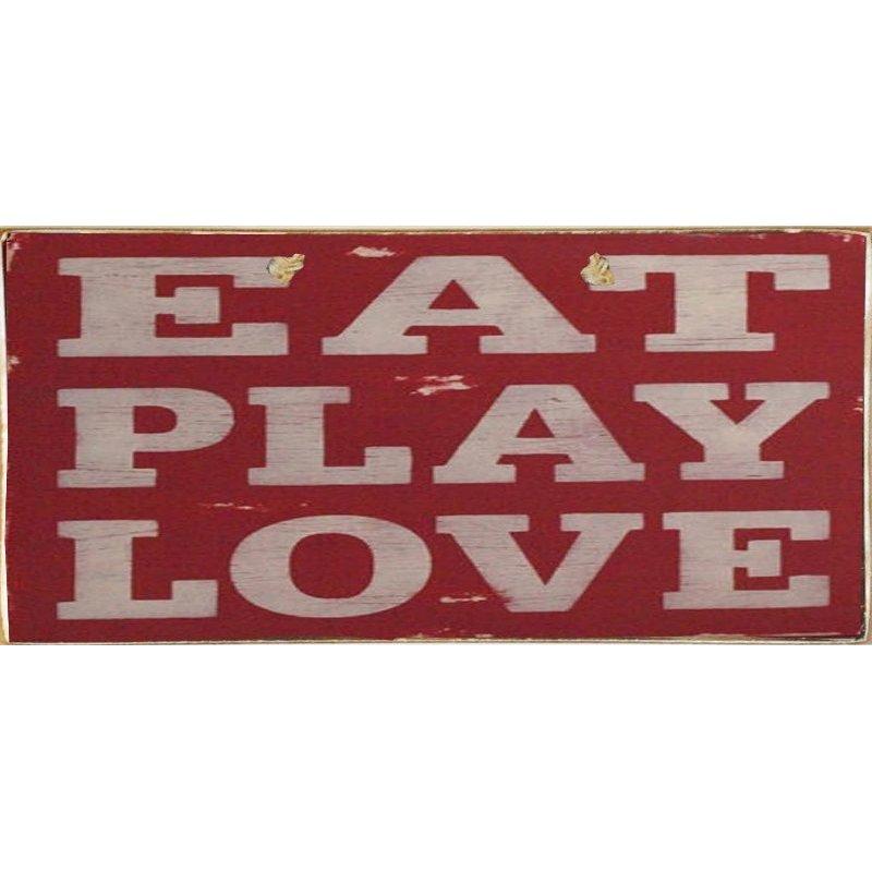 Eat Play Love-Ξύλινος  Πίνακας Χειροποίητος 13 x 26 cm