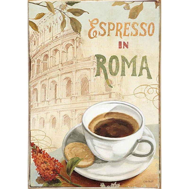 Espresso Roma-Ξύλινος  Πίνακας Χειροποίητος 20 x 30 cm