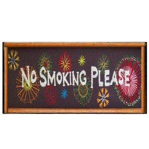 Ethnic χειροποίητο πινακάκι ξύλινο No smoking 26x13 εκ