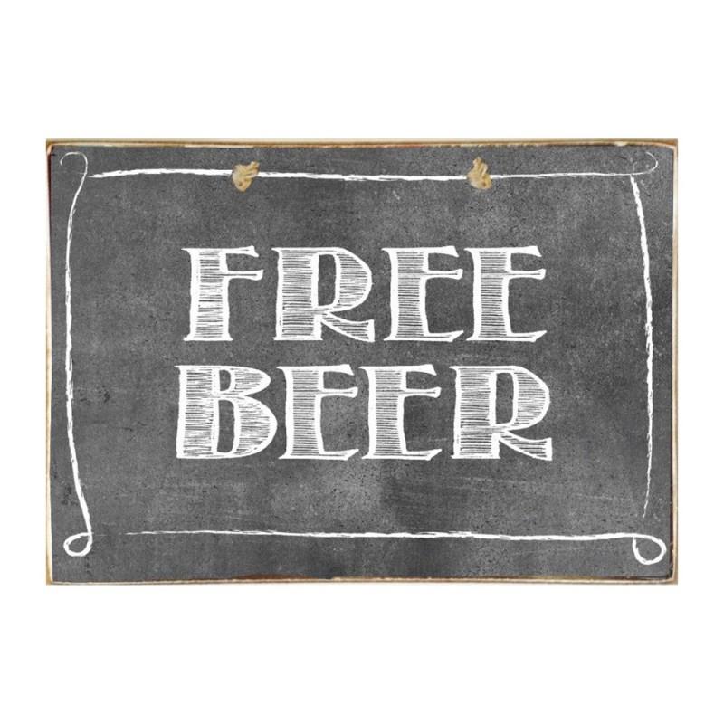 Free Beer- Ξύλινος Πίνακας Μαύροπίνακας 20 x 30 cm
