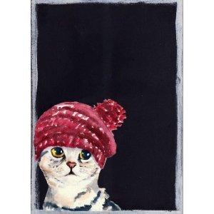 Γάτα με σκούφο - Χειροποίητος Μαυροπίνακας 20X30 εκα&
