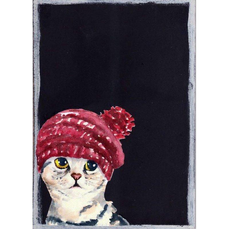 Γάτα με σκούφο - Χειροποίητος Μαυροπίνακας 20X30 εκατοστά