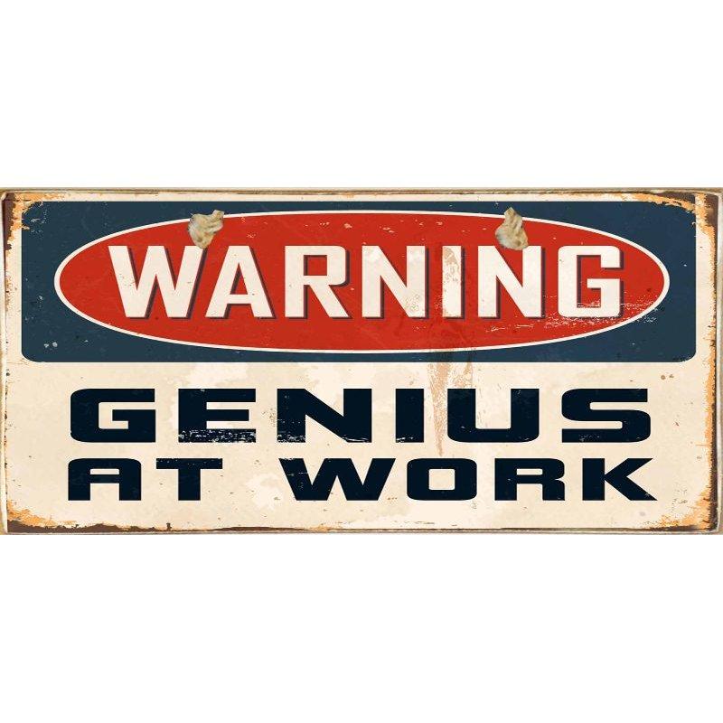 Genius At Work -Ξύλινος  Πίνακας Χειροποίητος 13 x 26 cm