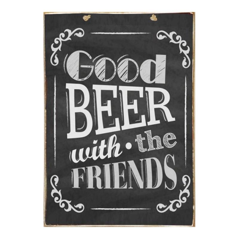 Good Beer Friends - Ξύλινος Πίνακας Μαύροπίνακας 20 x 30 cm