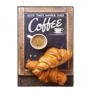 Good Times With Coffee-Ξύλινος  Πίνακας Χειροποίητος 20 x 30 cm