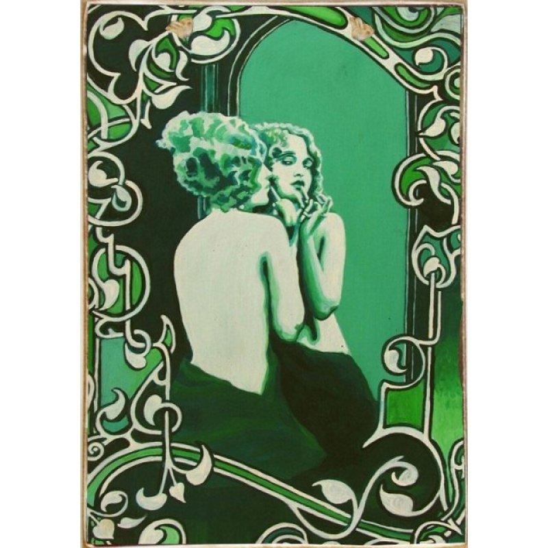Green Woman Ξύλινος Vintage Πίνακας 20 x 30 cm