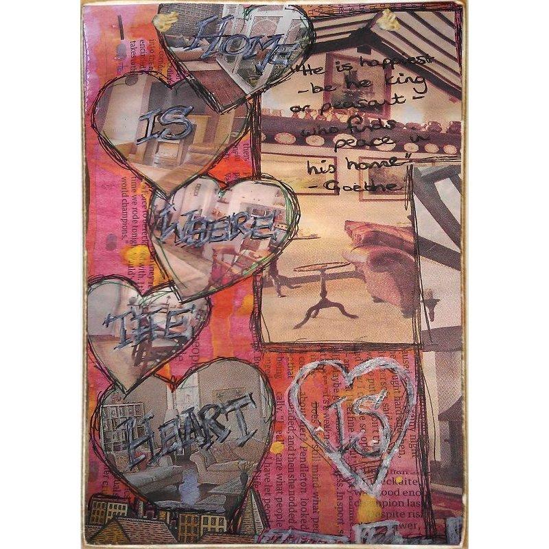 Home Is Where The Heart Is -Ξύλινος  Πίνακας Χειροποίητος 20 x 30 cm