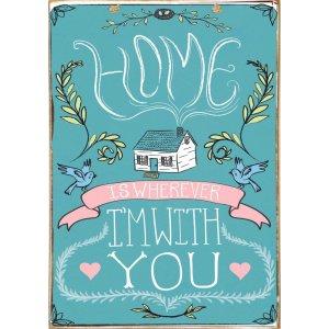 Home Is Wherever - Ξύλινος Πίνακας  Xειροποίητος 20 x 30 cm