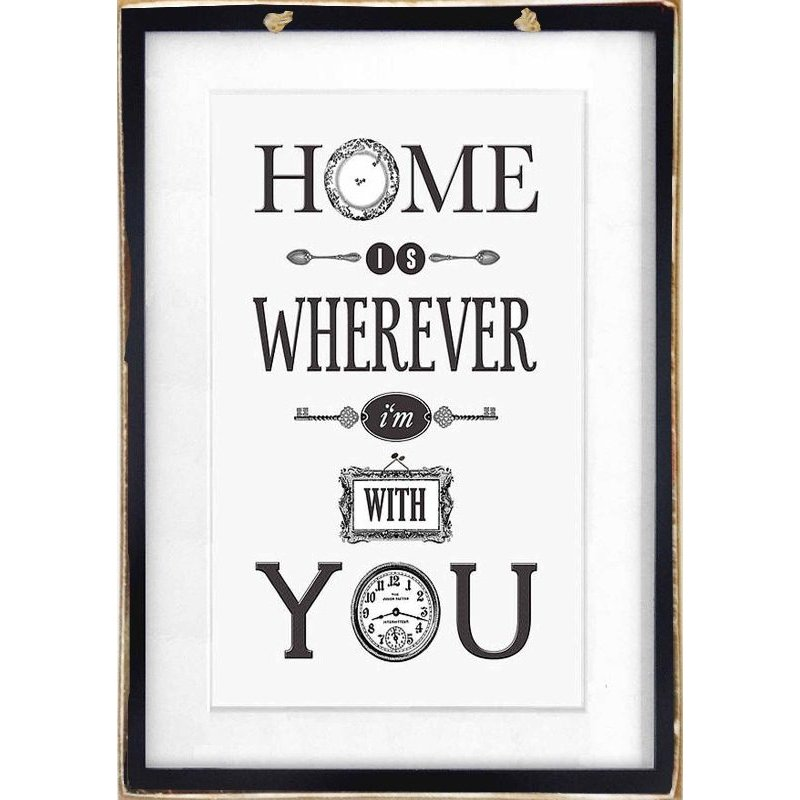 Home Is Wherever I'm With You - Ξύλινος vintage Πίνακας  20 x 30 cm