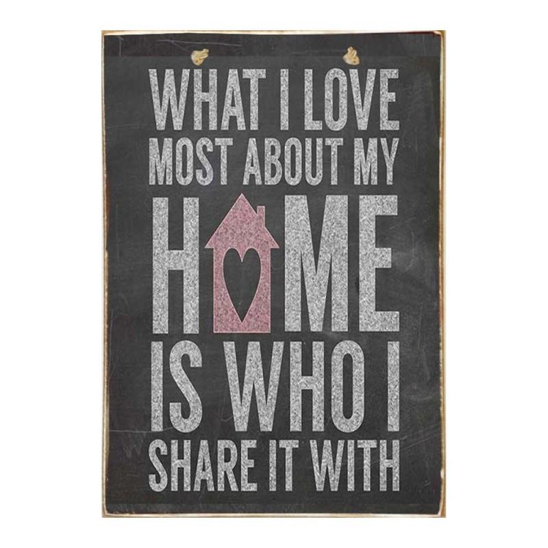 Home Love - Ξύλινος Πίνακας Μαύροπίνακας 20 x 30 cm