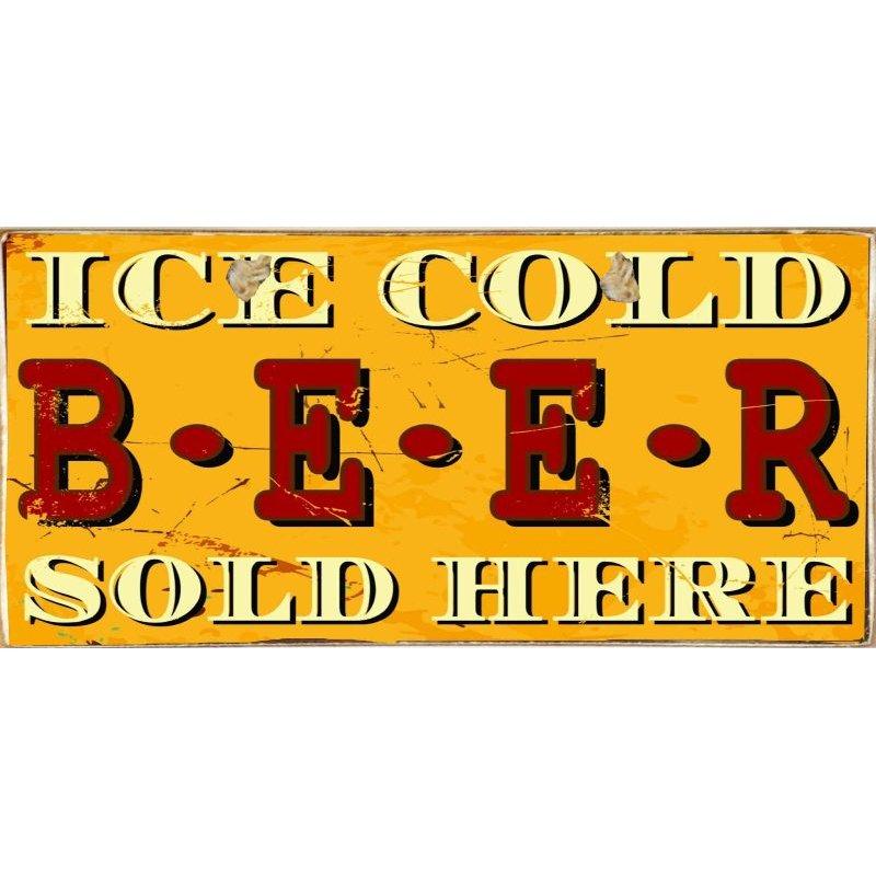 Ice Cold Beer -Ξύλινος  Πίνακας Χειροποίητος 13 x 26 cm