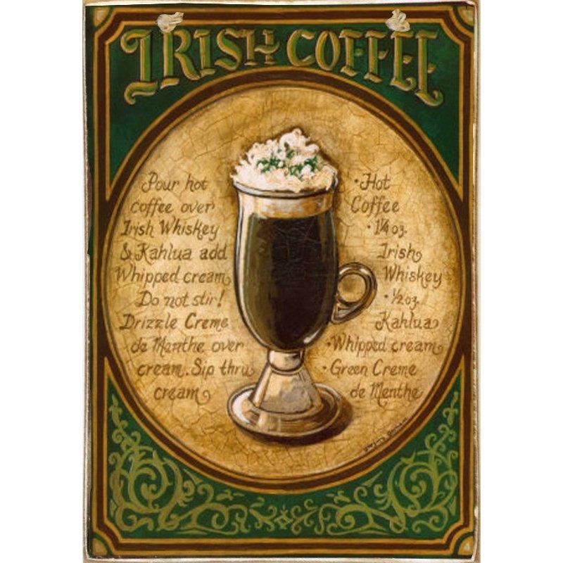Irish Coffee -Ξύλινος  Πίνακας Χειροποίητος 20 x 30 cm