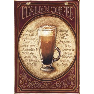Italian Coffee -Ξύλινος  Πίνακας Χειροποίητος 20 x 30 cm
