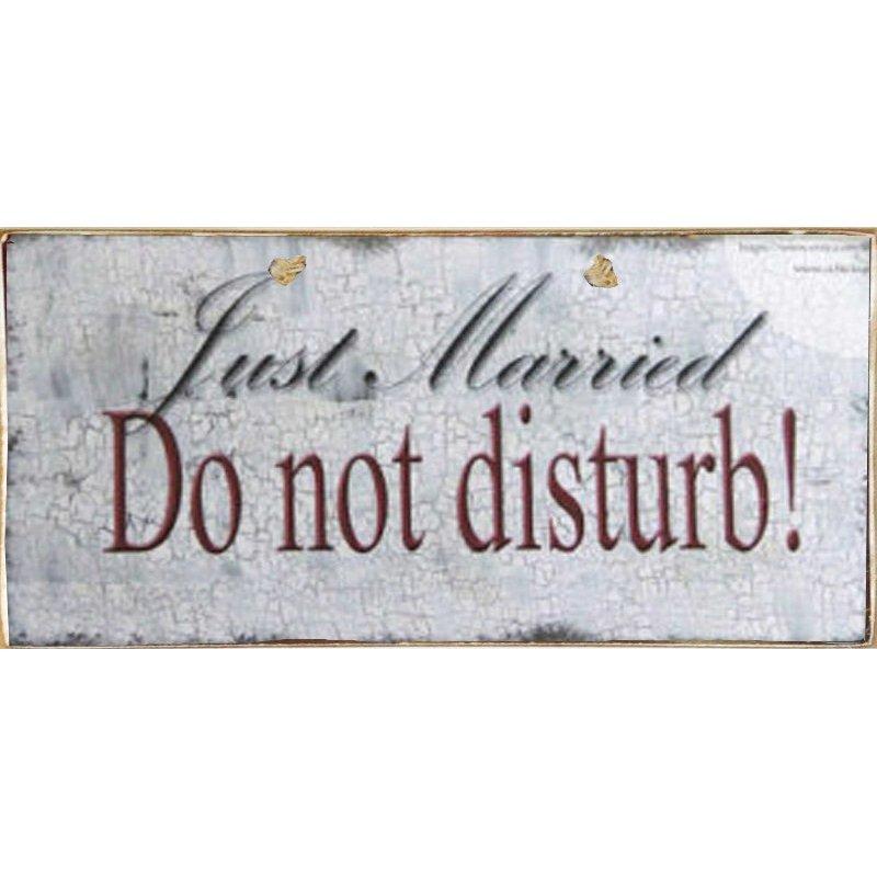 Just Married Do Not Disturb -Ξύλινος  Πίνακας Χειροποίητος 13 x 26 cm