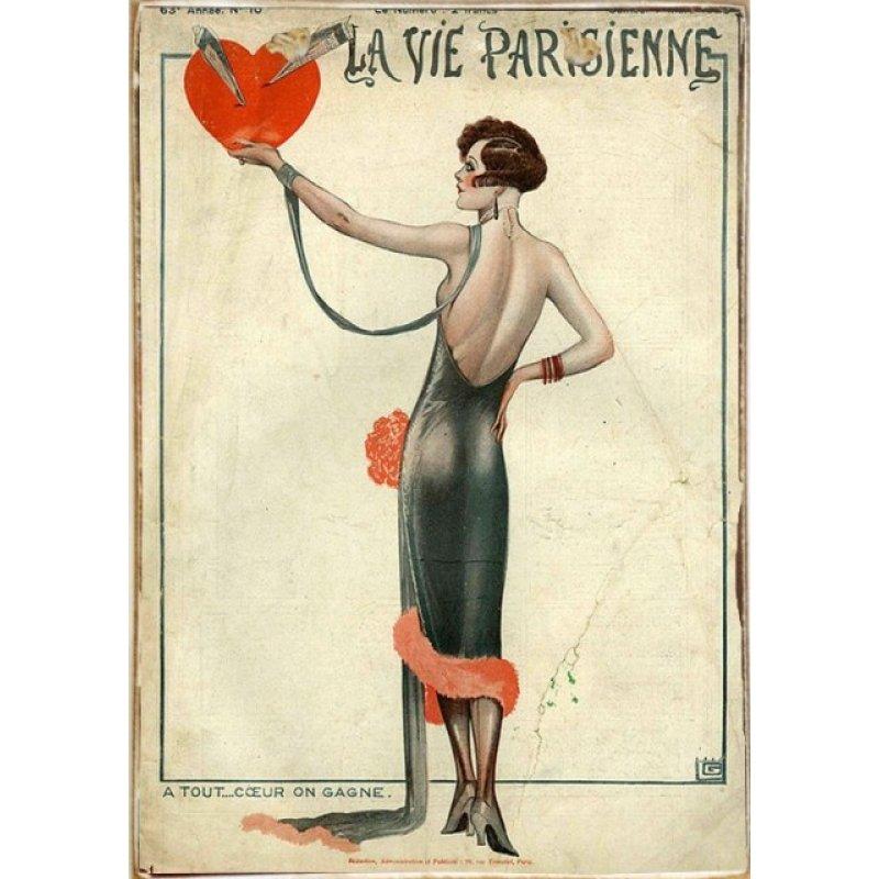 La Vie Parisienne Ξύλινος Vintage Πίνακας 20 x 30 cm