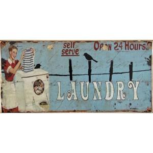 Laundry -Ξύλινος  Πίνακας Χειροποίητος 13 x 26 cm