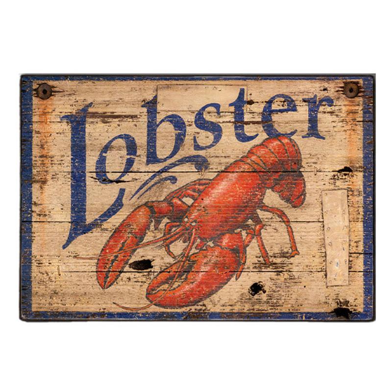 Lobster Ξύλινος Vintage Πίνακας 20 x 30 cm