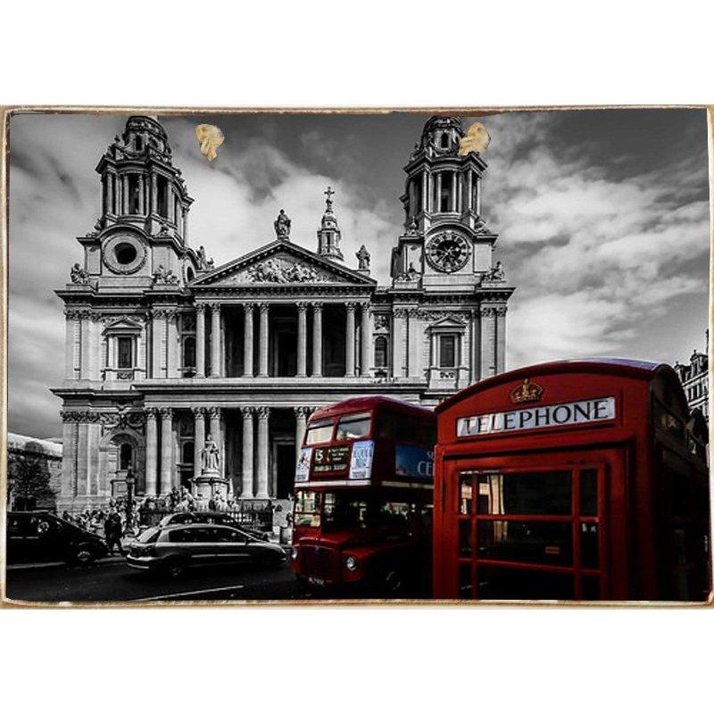 London-Ξύλινος  Πίνακας Χειροποίητος 20 x 30 cm