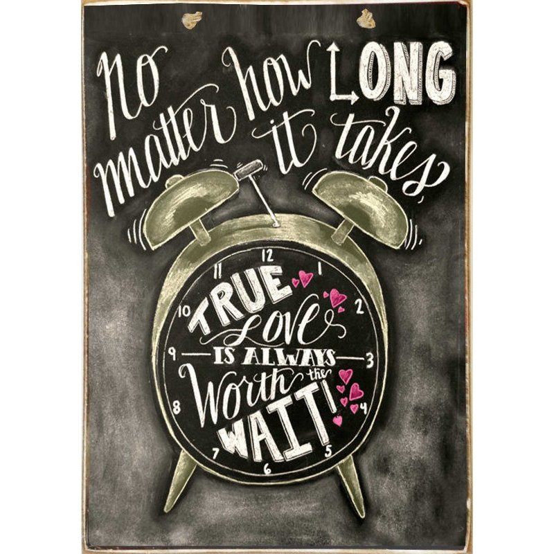 Love Can Wait -Ξύλινος  Πίνακας Μαυροπίνακας 20 x 30 cm