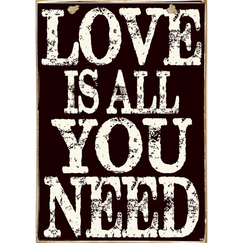 Love Is All You Need -Ξύλινος  Πίνακας Μαυροπίνακας 20 x 30 cm