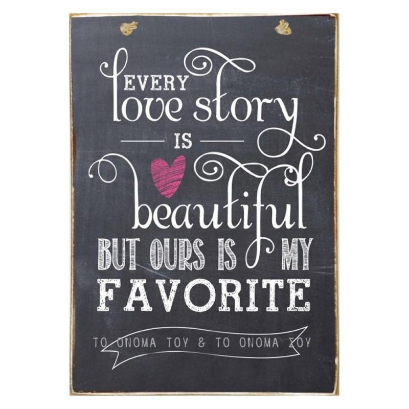 Love Story Customize It -Ξύλινος  Πίνακας Μαυροπίνακας 20 x 30 cm