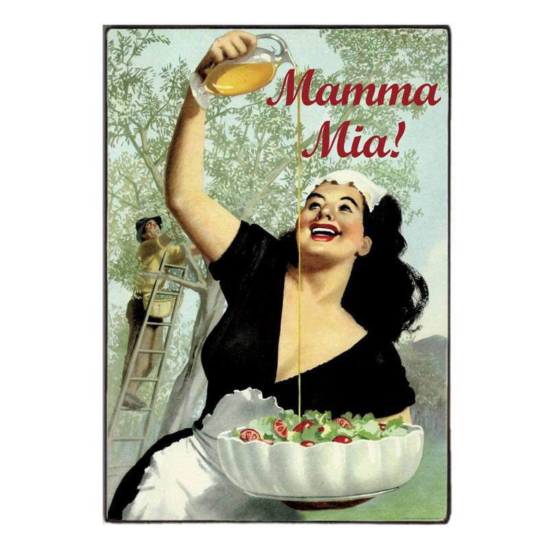 Mamma Mia -Ξύλινος  Πίνακας Χειροποίητος 20 x 30 cm