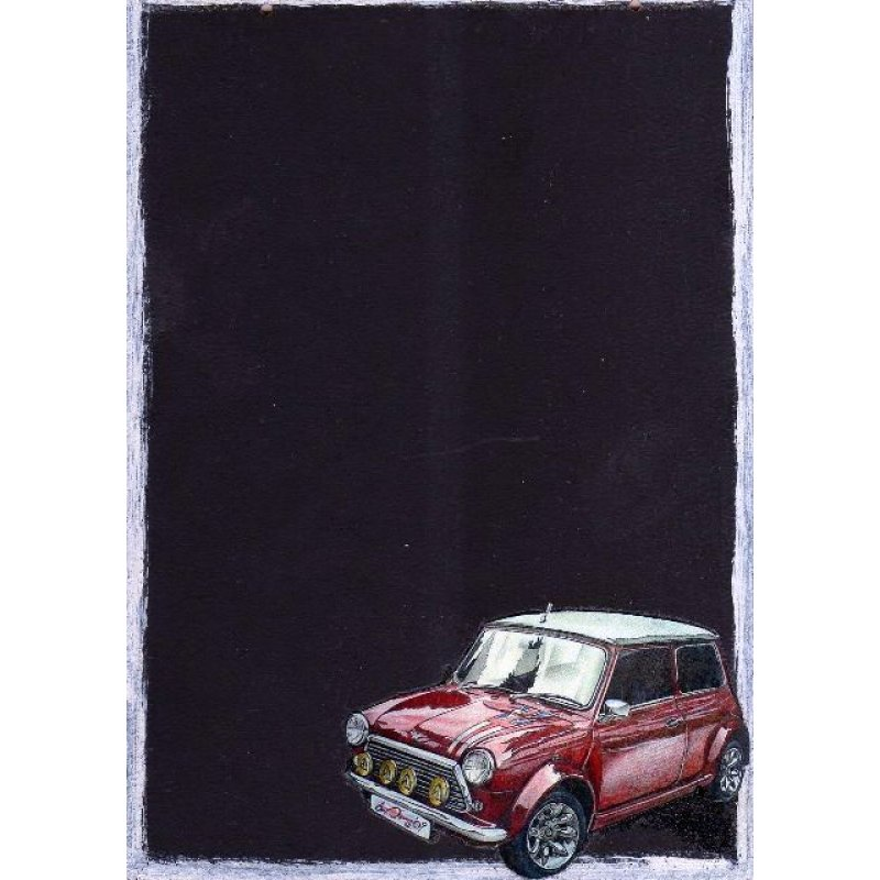 Mini Cooper - Χειροποίητος Μαυροπίνακας 20X30 εκατοστά