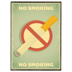 No smoking retro ξύλινος χειροποίητος πίνακας 20x30 εκ