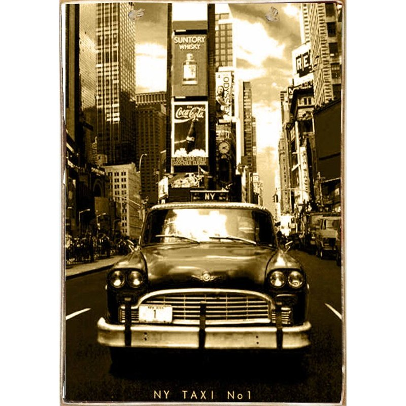 NY Taxi -Ξύλινος  Πίνακας Χειροποίητος 20 x 30 cm