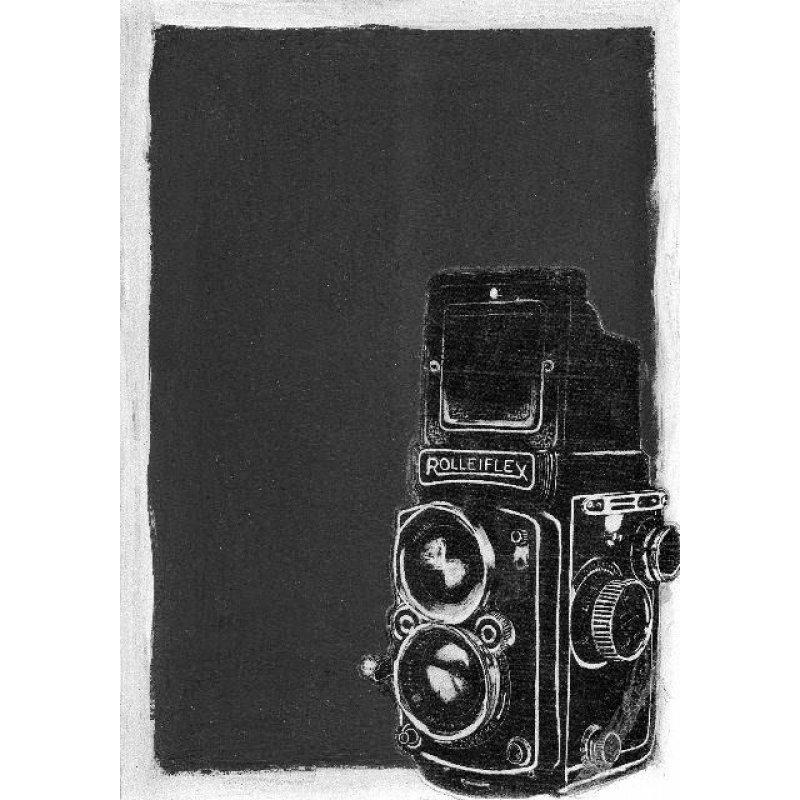 Παλιά Φωτογραφική μηχανή - Χειροποίητος Μαυροπίνακας 20X30 εκατοστά