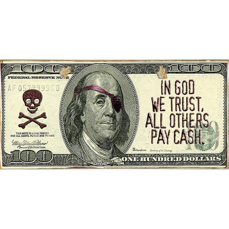 Pay Cash -Ξύλινος  Πίνακας Χειροποίητος 13 x 26 cm