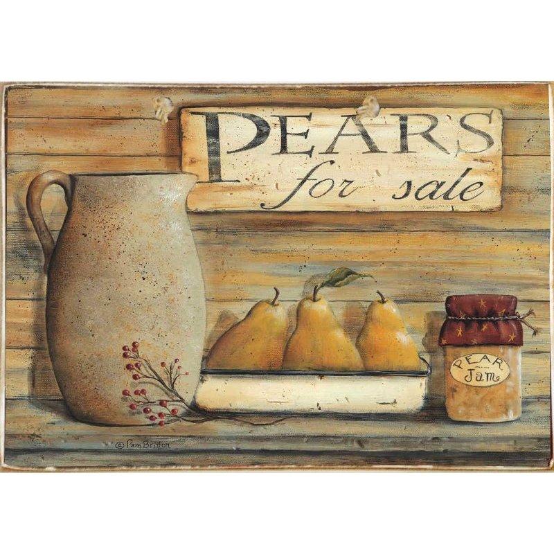 Pears For Sale -Ξύλινος  Πίνακας Χειροποίητος 20 x 30 cm