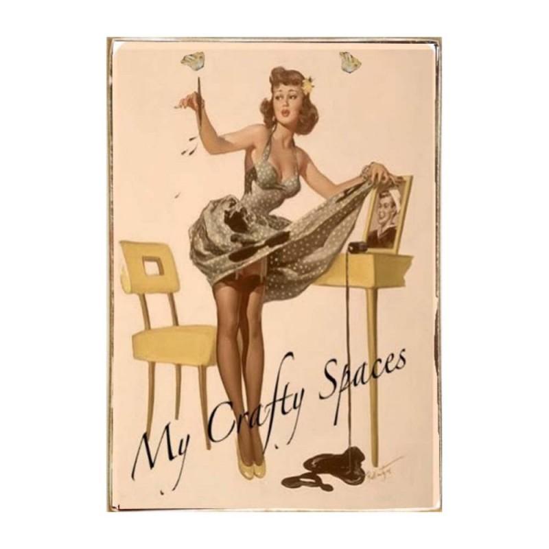 Pin Up Girl Ξύλινος Vintage Πίνακας 20 x 30 cm