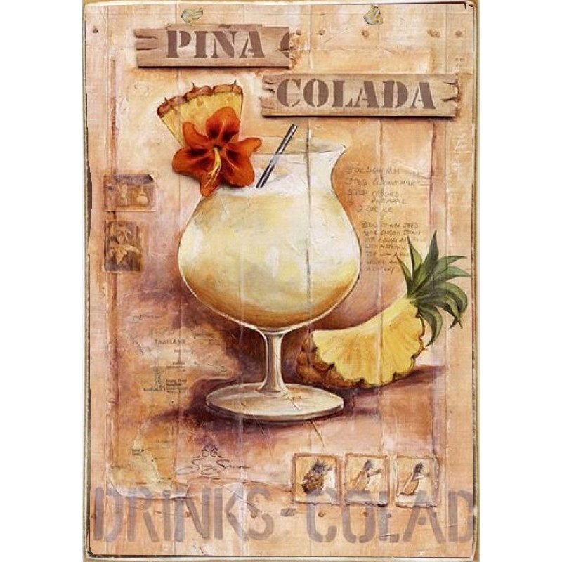 Pina Colada -Ξύλινος  Πίνακας Χειροποίητος 20 x 30 cm