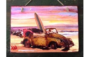 Sign Πίνακας Χειροποίητος Vintage Car in the Sunset