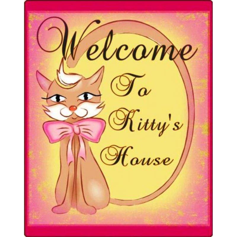 Πίνακας Χειροποίητος Welcome to Kitty's House